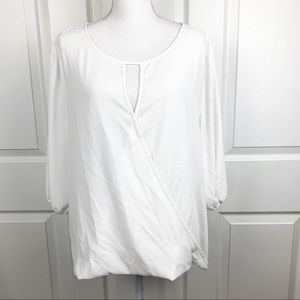 Vince Camuto Wrap Front White Blouse